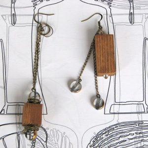 Cercei din lemn, alama si sticla galvanizata
