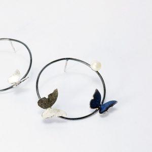 cercei argint perlea, cercei fluturi, crecei albastri