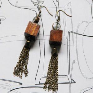 Cercei Canaf din lemn, metal si sticla galvanizata