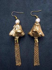 Cercei Ondine Gold din trapa Natans, metal si perle de cultura_INDISPONIBILI