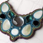 Colier Catarhoe din piele, metal, sidef si sticla galvanizata_INDISPONIBIL