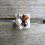 Inel Summer Shades din argila polimerica, perle de cultura, metal si arici de mare