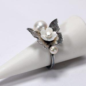 Inel din argint cu fluture, inel reglabil, inel cu perle, inel cu floare din sidef